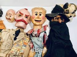 Collection Vintage Marionnettes Main En Bois Sculpté Papier Machete Unique Folk Art