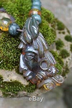 Collier Ambre Sculpté À La Main Pakal Roi Maya De Palenque Chiapas Au Mexique Folk Art