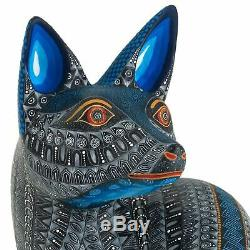 Coyote Oaxacan Alebrije Sculpture Sur Bois D'art Populaire Mexicain Handcrafted Nestor Melchor