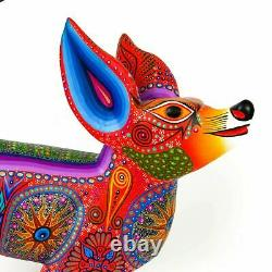 Coyote Oaxacan Alebrije Wood Carving Mexican Art Sculpture Painting Décor