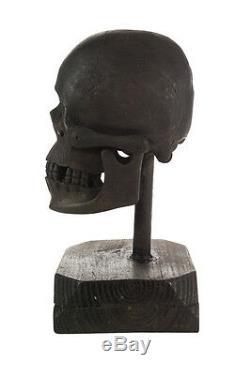 Crâne Antique En Bois Sculpté Du 19ème Siècle Main D'art Populaire