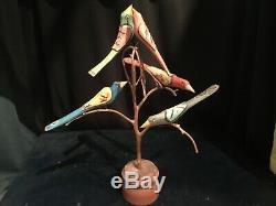 Dan Donna Strawser Sculpté Bois, Folk Art, Arbre Painted Bird, 5 Oiseaux, 1990,16in