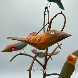 Daniel & Donna Strawser Grand 18 Folk Art Hand Sculpté Et Peint 6 Oiseaux Dans L'arbre