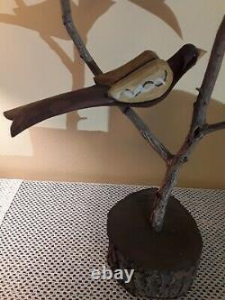 Daniel Strawser Hand Carved Pennsylvania Folk Art Bird Tree Vers 1984