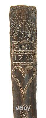 Daté Antique 1750 Treen Séjour / Corset Busk Sailor Sculpté Folk Art Amour Token