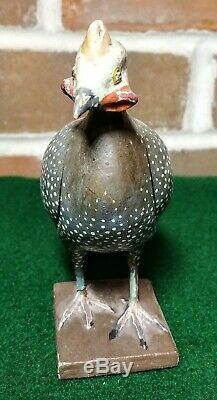 Début Des Années 1900 Folk Art Sculpté À La Main Peinte À La Main Guinée Oiseau