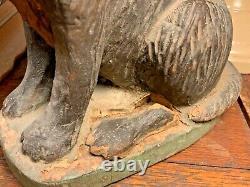 Début Du 20ème Siècle Folk Art Hand Carved Wood Dog Spaniel Sculpture Peinte