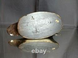 Decoy De Canard En Bois Vintage Ou Antique Avec Des Yeux En Verre Sculpté Balsa Folk Art