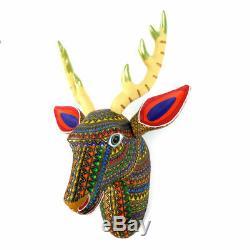 Deer Head Montage Mural Oaxacan Alebrije Sculpture Sur Bois Sculpture Art Populaire Mexicain