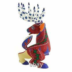 Deer Oaxacan Alebrije Sculpture Sur Bois Fine Mexican Folk Art Sculpture