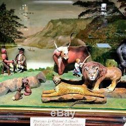 Diorama Par Richard C. Orcutt Folk Artiste Basé Sur Edward Hicks Peaceable Kingdom