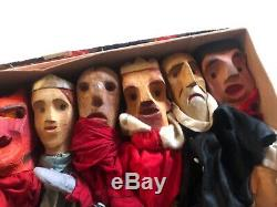 Domaine Lot 7 Sculpté À La Main En Bois Folk Art Marionnettes Allemand -shakespeare Diable Friar