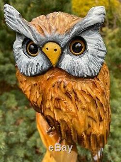 Duc Sculpture Chainsaw Blanc Mangeoire Owl Sculptures Original Folk Oeuvre D'art