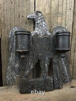 Early Wood Folk Art Eagle Match Safe Primitive Original Old Paint Aafa Sculpté