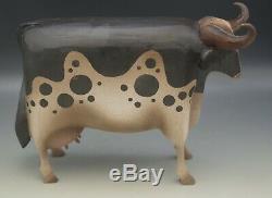 Elaine Frank La Valette Sculpté Appletree Main Grande Vache Folk Art Sculpture 2000