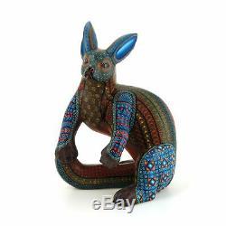 Elegant Chien Oaxacan Alebrije Sculpture Sur Bois Art Populaire Mexicain Peinture Sculpture