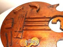 Énorme Bois Sculpté À La Main Antique 3,5 Pieds Signe Commercial Mur Barre De Musique De Guitare Folk Art