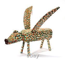 Énorme Outsider Folk Art Sculpture En Bois Sculpture Jl Nipper Winged Pig