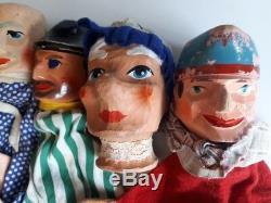 Ensemble De 8 Main Sculpté Millésime Marionnettes À Main En Bois Folk Art Guignol