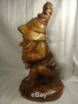 Esprit Sculpture Sur Bois D'art Populaire De Magicien De La Forêt Elfe Gnome Noyer Nain 16 ' ' Tall