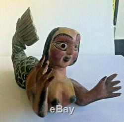 Fabuleux Vintage Main Sculpté Sirène-art Populaire En Bois Peint À La Main