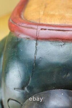 Fait À La Main Sculpté Folk Art Rocking Horse Voiture Vintage En Bois Massif Enfants Jouet