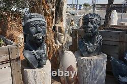 Fantastique 31 Tall 23 Wide Shona Tribe Sculpté Warrior Statue Livraison Gratuite