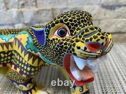 Fierce Jaguar Oaxacan Alebrije Wood Sculpture Folklorique Mexicaine