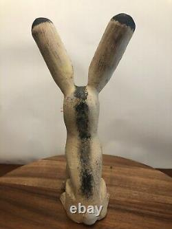 Figurine De Sculpture Folklorique Sculptée En Bois De Lapin De David Alvarez Jack Signée 11 Tall