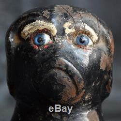 Fin Du 19ème Siècle Chien Folk-art Peint Sculpté En Bois Hiding Box