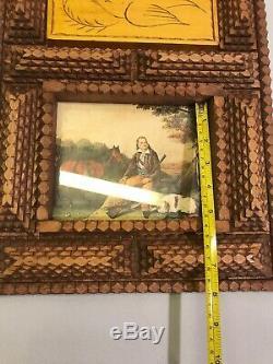 Folk Art Américain Antique En Bois Sculpté Clochard Art Cadre Photo Couches En Bois