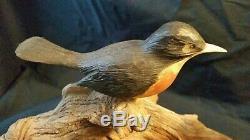 Folk Art Antique Sculptures D'oiseaux Decoy Main En Bois Sculpté