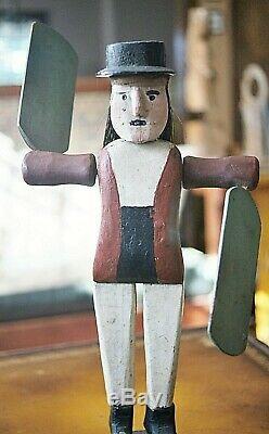 Folk Art Antique Toupie Sculpté À La Main Painted Man Whaler Signé 1919 Maine Vente