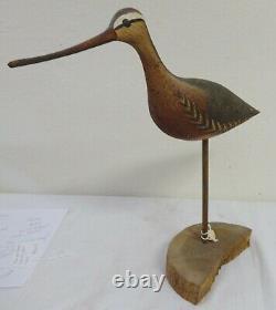 Folk Art Carved & Painted Wood Shore Bird Stamped Wek