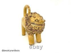 Folk Art Jaune Émaillés Redware Shenandoah Lion Manner De Billy Ray Hussey