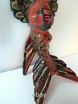 Folk Art Mexicain Sculpté Bois Mur Sirène Ange Guerrero Décor Nautique 17