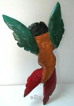 Folk Art Mexicain Sculpté Bois Mur Sirène Ange Guerrero Nautique Décor 18