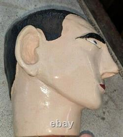 Folk Art Outsider Art Pottery Clay Sculpture Man's Head