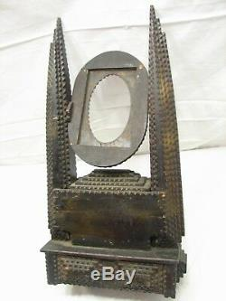 Folk Art Tramp Americana Cigar Dresser Boîte Chip Trinket Sculpté Horloge / Miroir