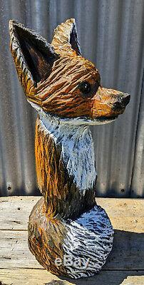 Fox Chainsaw Carving Sculpture Red Cedar Log Cabin Décor De Jardin En Bois Folk Art
