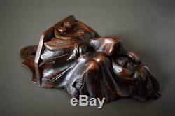 Français Antique Rare En Bois Sculpté Figural Mascaron Mur De Sel Boîte Folk Art