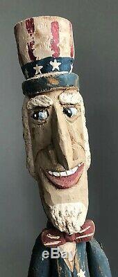 Gary Yost Folk Art Bâton Figure 59 Grand Oncle Sam Patriotique One-of-a-kind