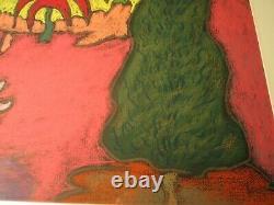 George Colin Outsider Folk Art Original Charcoal Signé Artiste Listed