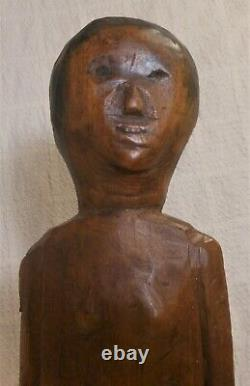 Good Folk Art Rustic Naive Carved Wood Figure 14