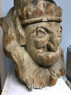 Grand 28in Art Populaire Main Sculpté Punch Tabagie Publicité Figure Countertop