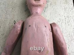 Grand Antique Anatomiquement Sculpté Bois Folk Art Poupée Primitive Jouet Original