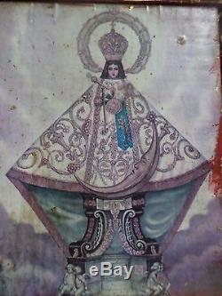 Grand Art Populaire Mexicain En Bois Sculpté Retable Autel Mur Niche Nicho Saint Santo