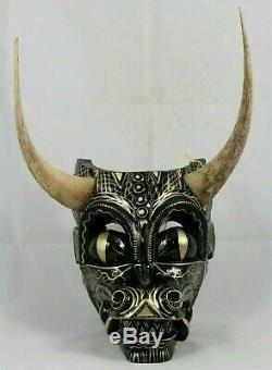 Grand Dragon De Bois Masque Sculpté / Peint Collection Décor Art Populaire Mexicain Main