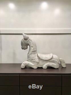 Grand Folk Art Déco En Bois Sculpté Cheval Sculpture Statue Figurine Animal Moderne