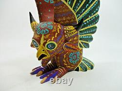 Grand Oaxacan Alebrije, Sculpture En Bois Coloré, Sculpture D'art Populaire Mexicaine Signée